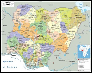 Political map of Nigeria showing all the states