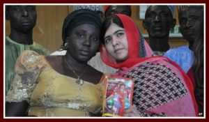 Malala with Rebecca. Her daughter Sarah is still missing.